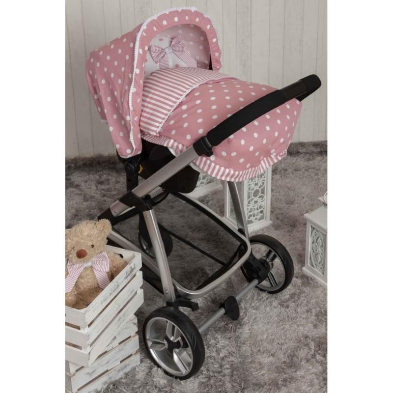 Saco Porta bebé Carrusel rosa. (capota no incluida)