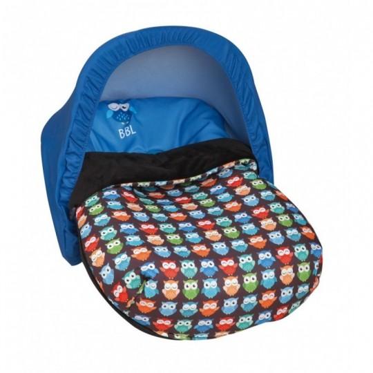 Saco Porta bebé Estampado Búhos Azul (capota no incluida)