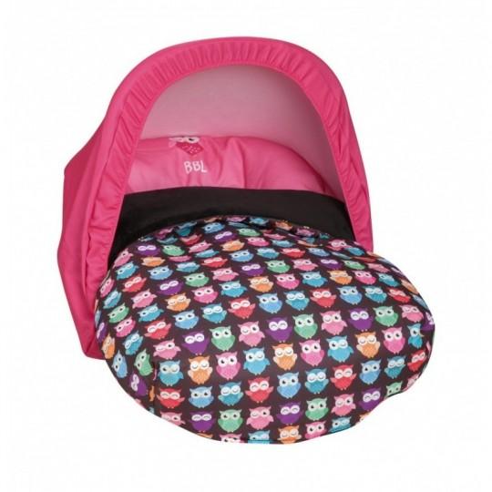 Saco Porta bebé Estampado Búhos Rosa (capota no incluida)