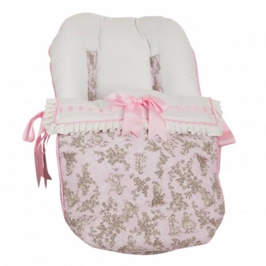 Saco Porta bebé Paseos de Toile Rosa. (capota no incluida)