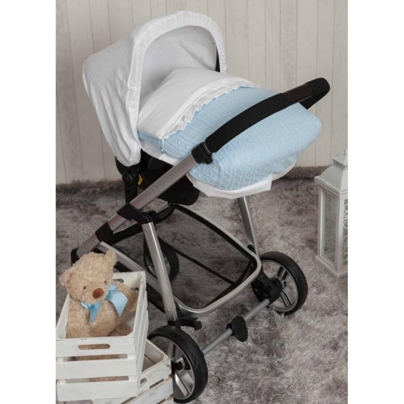 Saco Porta bebé Pompones Azul. CAPOTA NO INCLUIDA