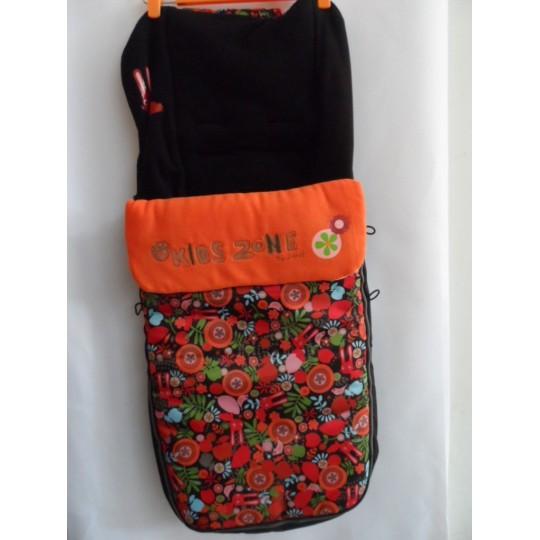 Saco silla bebé universal polar, naranja estampada / negra
