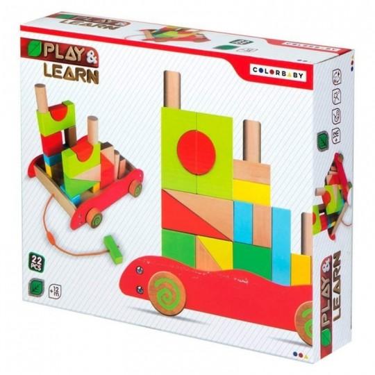 Carrito de bloques de madera 22 piezas