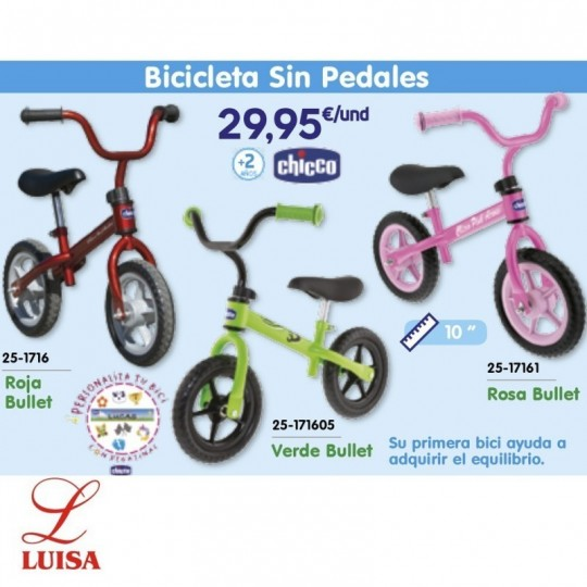 Bicicleta Sin Pedales Roja Bullet Chicco